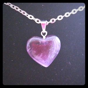 Jewelry - Natural Stone Heart Shape Pendant w/ Silver Chain